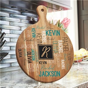 Personalized Initial Word-Art Acacia Paddle