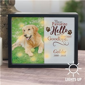 Personalized Pet Favorite Hello Hardest Goodbye LED Shadow Box