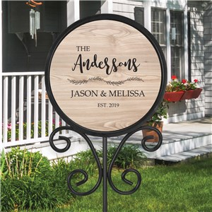 Personalized Light Wood Family Name Round Magnetic Sign UV152075
