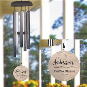 Personalized Light Wood Family Name Wind Chime UV152077