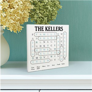 Personalized Square Sign | Wood Block Word Search Sign