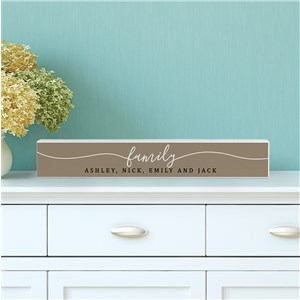 Personalized Home Decor Sign | Family Long Thin Shelf Sign