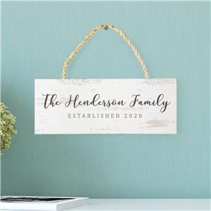 Personalized Established Hanging Sign | Distressed Look Family Name Sign