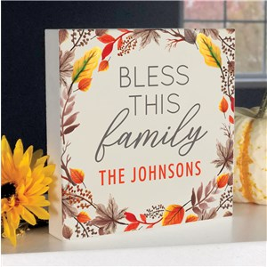 Personalized Fall Decor | Bless This Family Tabletop Sign
