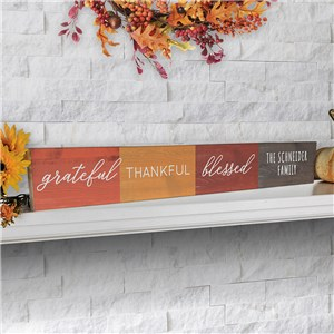Personalized Fall Sign | Grateful Thankful Blessed Decorations