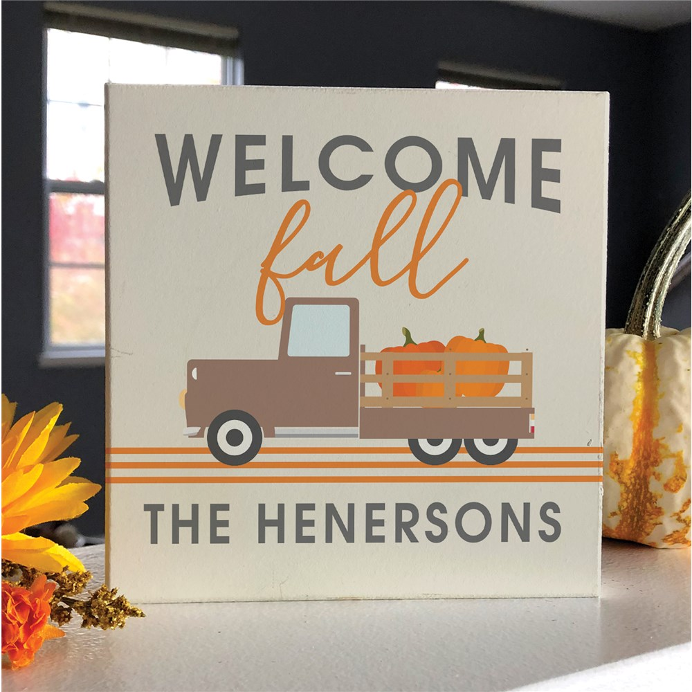 Personalized Fall Decor | Welcome Fall Tabletop Sign