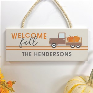 Personalized Fall Truck Hanging Sign | Rustic Fall Decorations
