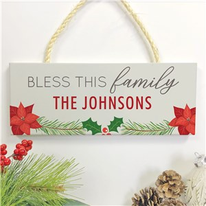 Personalized Holiday Hanging Sign | Bless This Family Indoor Decor
