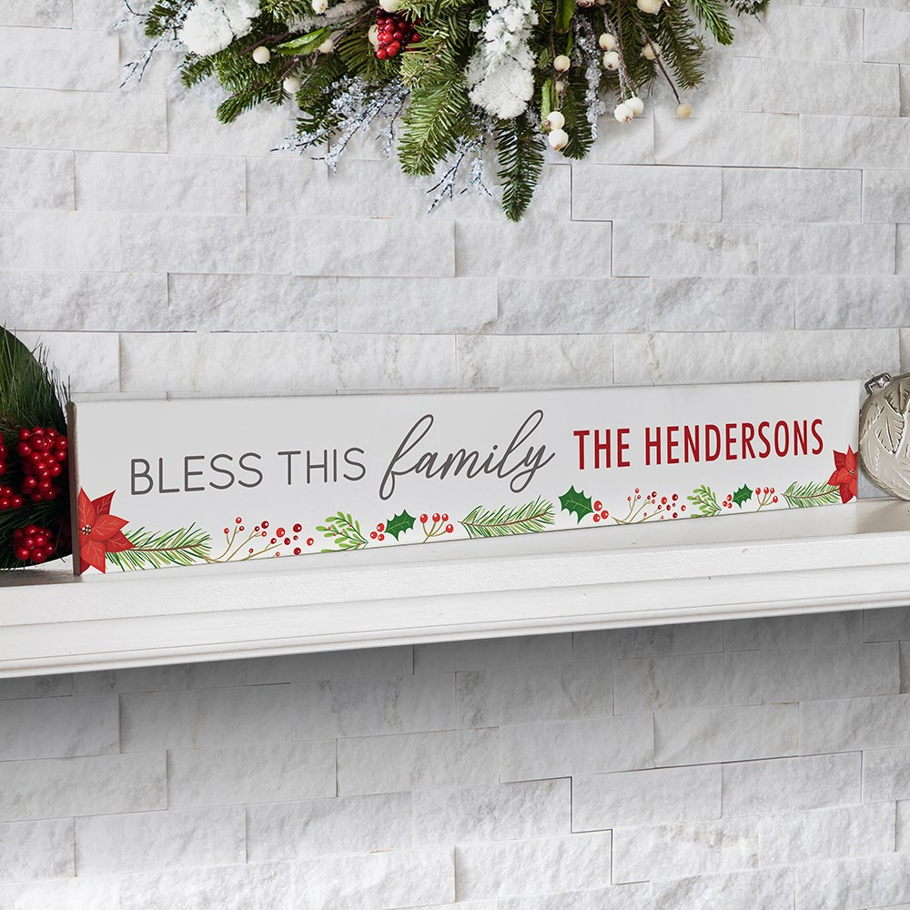 Personalized Holiday Decor | Bless This Family Tabletop Sign