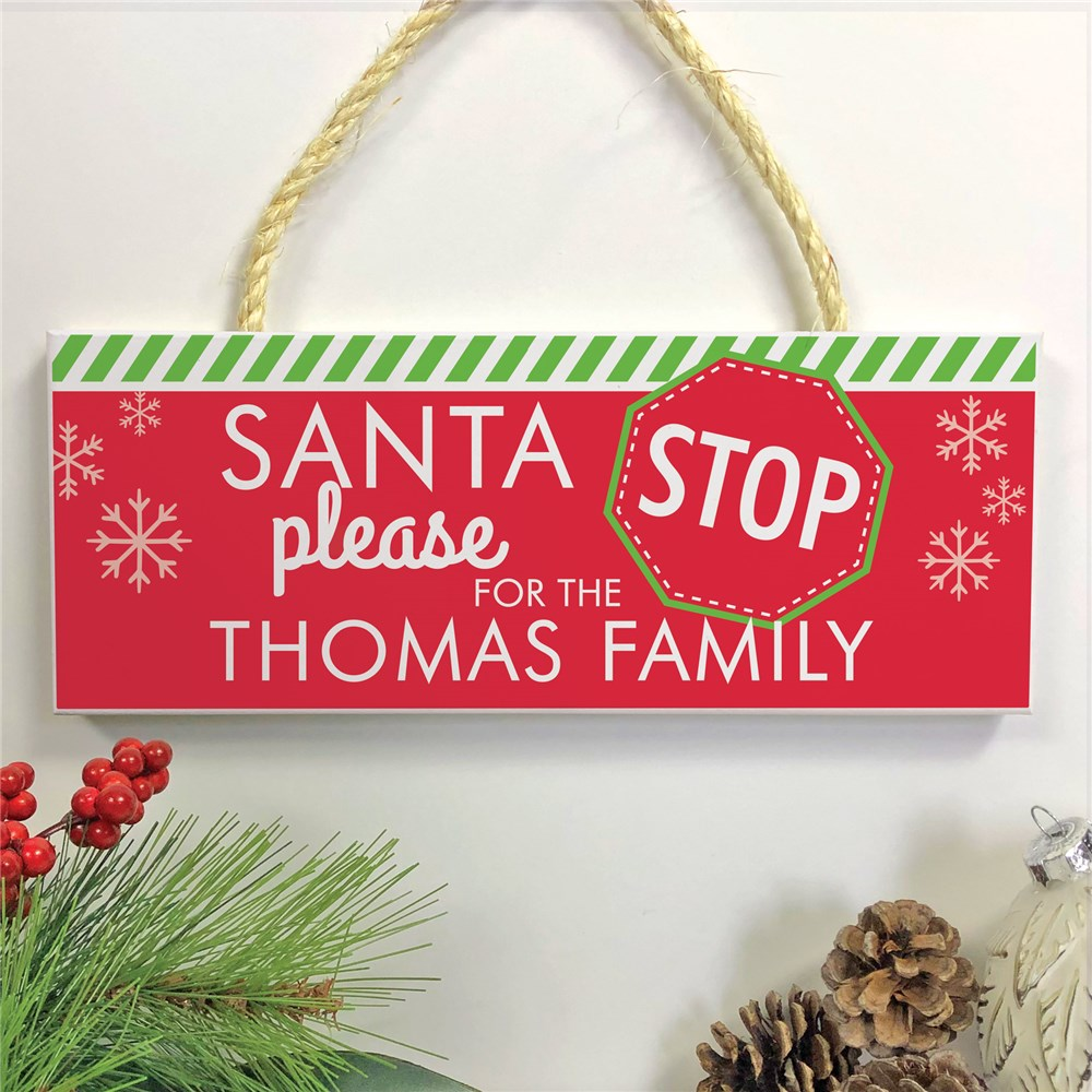 Personalized Holiday Hanging Sign | Santa Stop Here Sign
