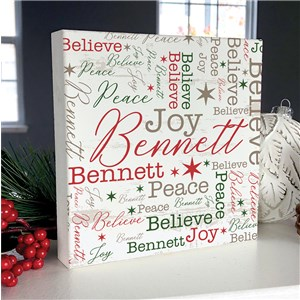 Personalized Holiday Square Sign | Word Art Christmas Sign