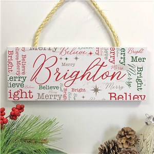 Personalized Holiday Star Word-Art Rope Hanging Sign UV1561412