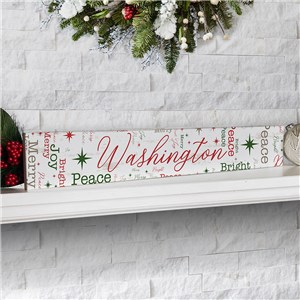 Personalized Holiday Word-Art Sign | Skinny Wood Block Holiday Sign