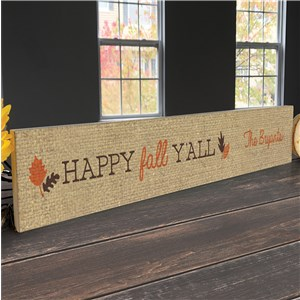 Personalized Fall Decor | Happy Fall Y'all Tabletop Sign