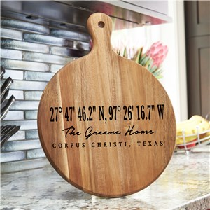 Personalized Coordinates Round Wood Acacia Paddle UV156851