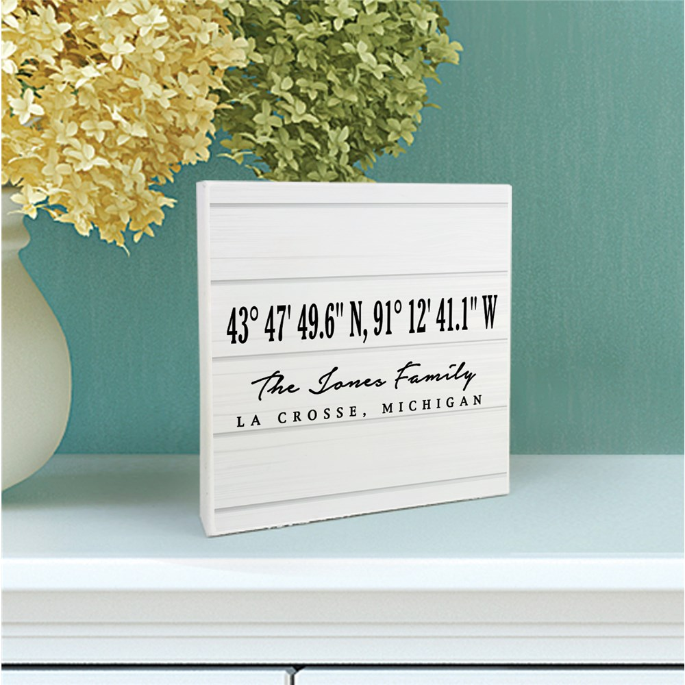 Coordinates White Wood Sign | Wood Block Home Coordinates Sign