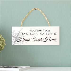 Personalized Coordinate Rope Hanger Sign | Home Sweet Home Sign