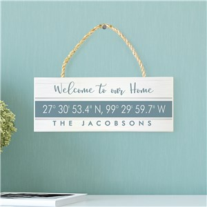 Family Begins Personalized Sign | Rope Wood Sign With Coordinates