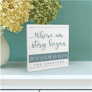 Personalized Where Our Story Began 6x6 Table Top Sign UV1569011