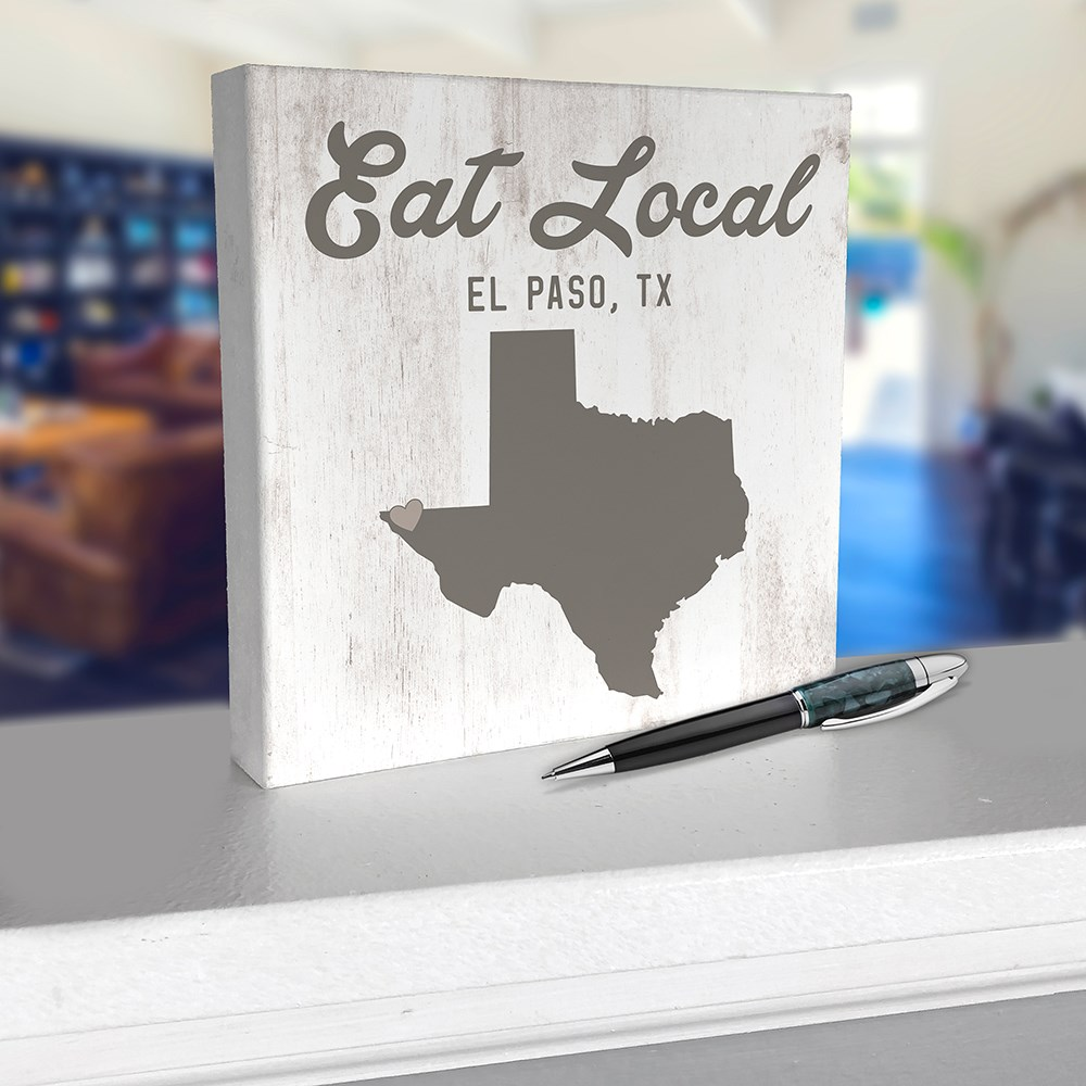 Personalized Eat Local State With Symbol 6x6 Tabletop Sign