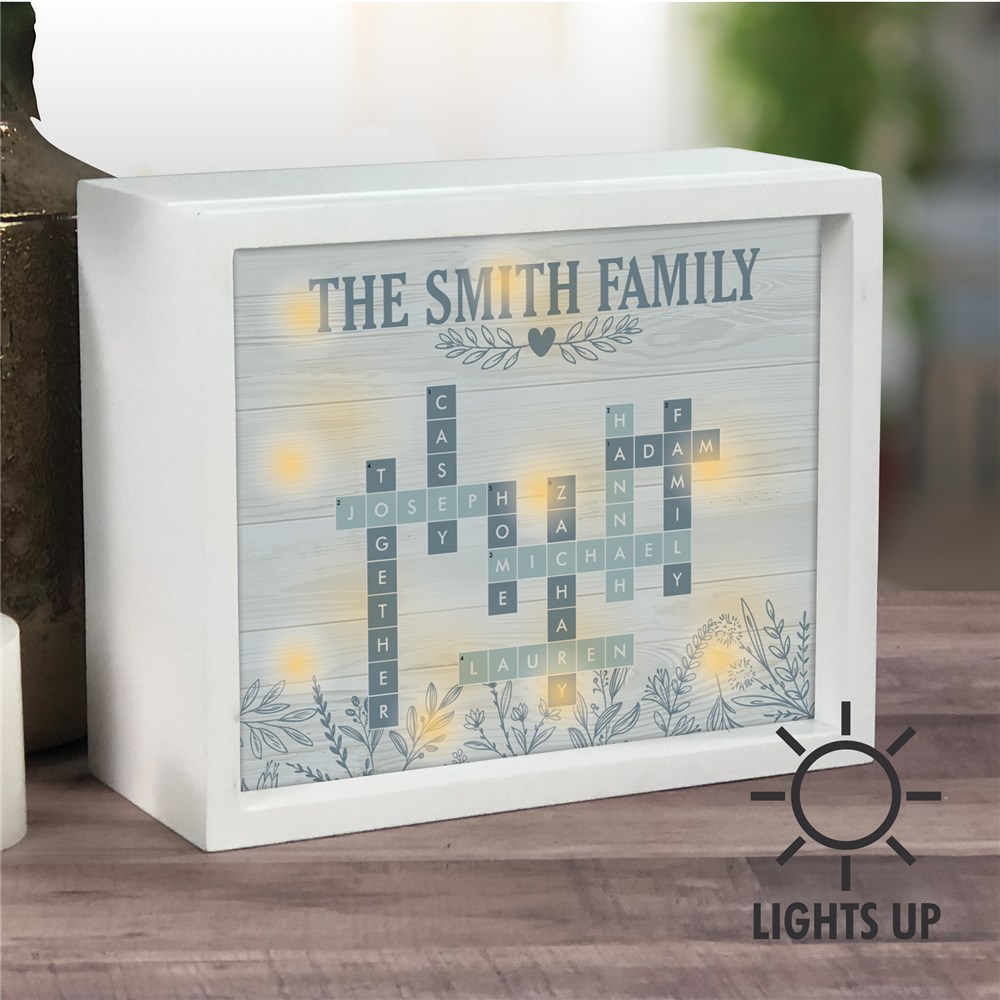 Personalized Blue Floral Crossword LED Shadow Box UV157502X