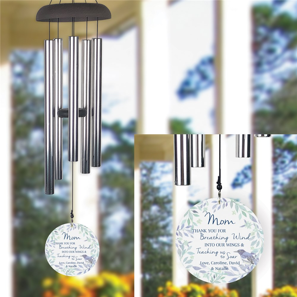 Thank You for Breathing Wind Into Our Wings Personalized Wind Chime UV161077