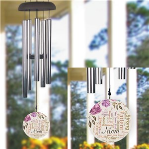 Personalized Water Color Flowers Word Art Wind Chime
