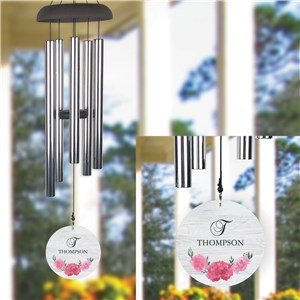 Personalized Pink Peonies Floral Wind Chime