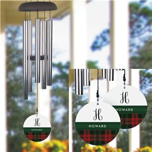 Personalized Plaid with Green Stripe Wind Chime