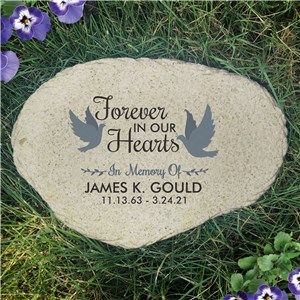 Personalized Forever In Our Hearts with Doves Flat Garden Stone