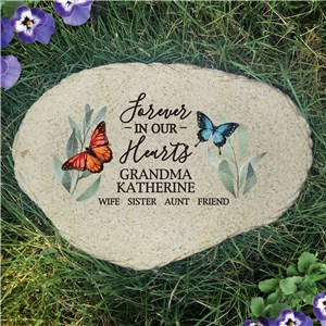 Flowers and Butterflies Forever In Our Hearts Flat Garden Stone