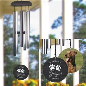Personalized Paw Prints with Heart and Photo Wind Chime