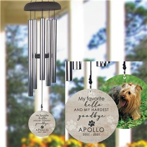 Personalized Hardest Goodbye Pet Photo Memorial Wind Chime