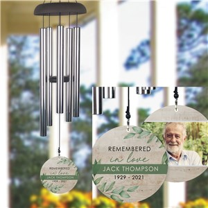 Personalized Remember In Love Floral/Wood Wind Chime