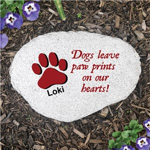 Personalized Paw Prints on Our Hearts Flat Garden Stones