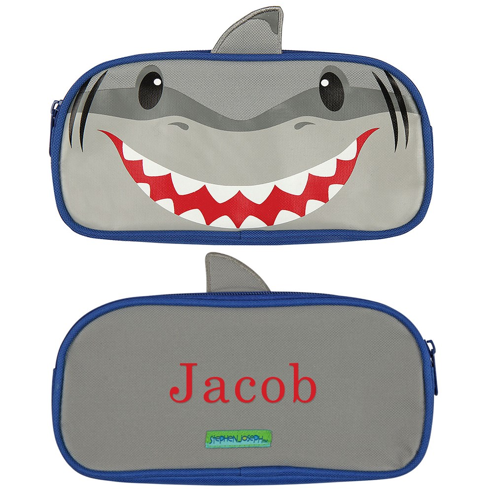 Embroidered Shark Pencil Pouch | Personalized School Supplies