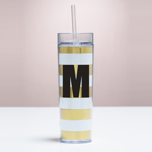 Personalized Initial Acrylic Gold Stripe Tumbler V1057212
