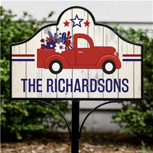 Patriotic Lawn Decor | Little Red Truck Sign