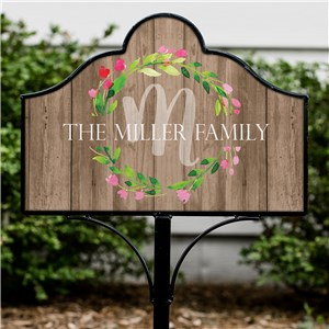 Personalized Family Wreath Magnetic Sign | Personalized Garden Signs