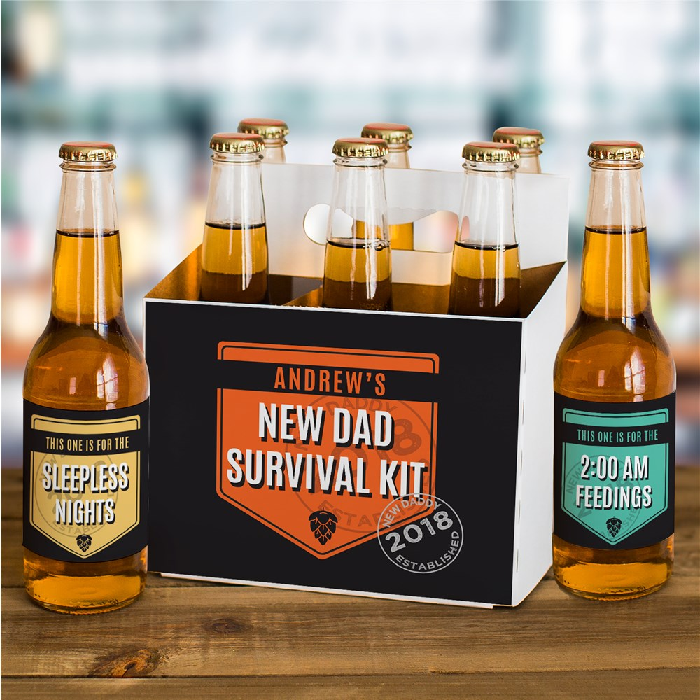 Personalized New Dad Survival Kit Beer Labels and Carrier Set | Unique Father's Day Gifts