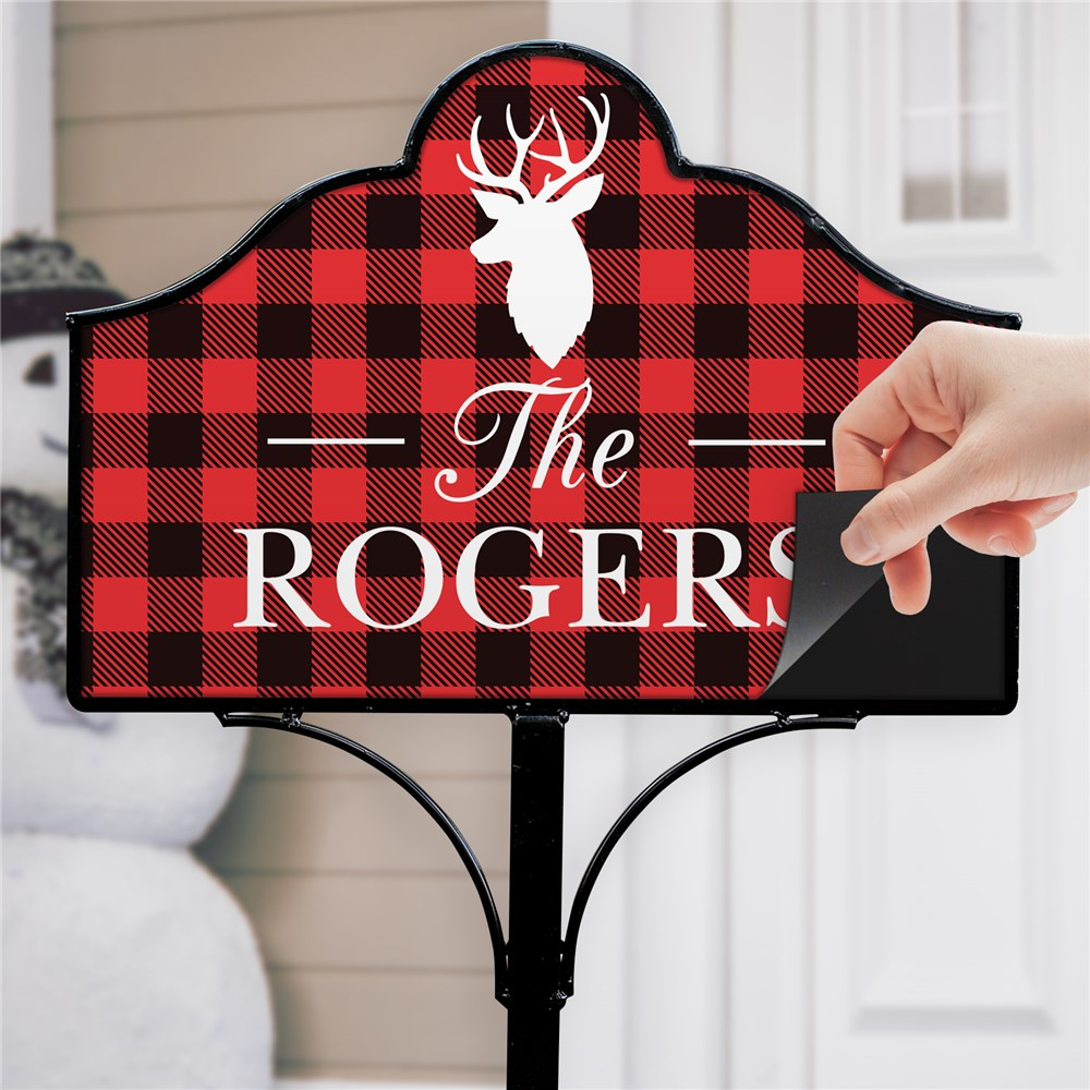 Red Plaid Home Decor | Personalized Deer House Sign