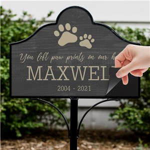 Personalized You Left Paw Prints On Our Heart Magnetic Sign