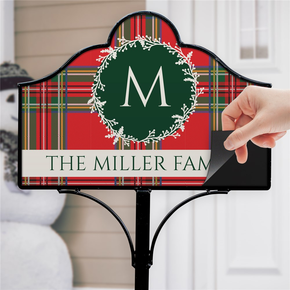 Personalized Tartan Plaid Initial Magnetic Garden Sign | Personalized Garden Sign