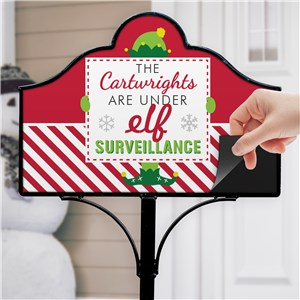 Elf Surveillance Personalized Magnetic Garden Sign | Personalized Garden Signs