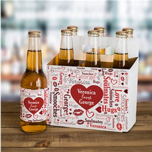 Personalized Heart Word Art Beer Label and Carrier Set V1408333