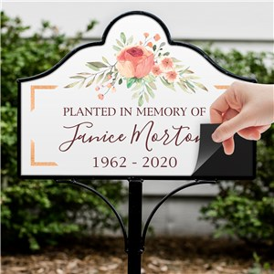 Personalized Planted In Memory Of Floral Magnetic Yard Sign Set V1489534