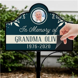 Personalized Blue With Cream Leaves Memorial Photo Magnetic Sign V1491534
