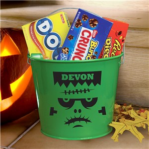 Personalized Skull Halloween Bucket | Personalized Halloween Baskets