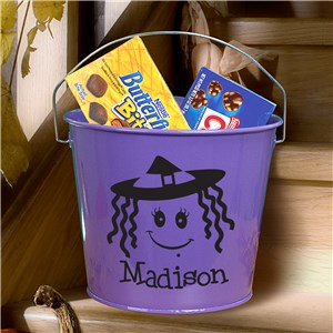 Personalized Purple Halloween Bucket | Personalized Halloween Baskets