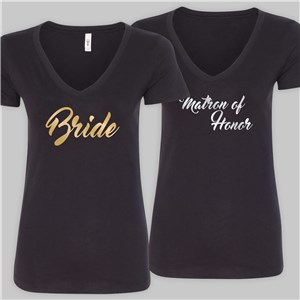 Personalized Bridal Party Black V-Neck T-Shirt | Personalized Bridesmaid Shirts